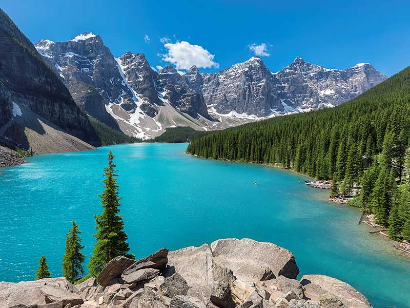 Grand Canadian Rockies Train Circle Tour | Moraine Lake near lake Louise
