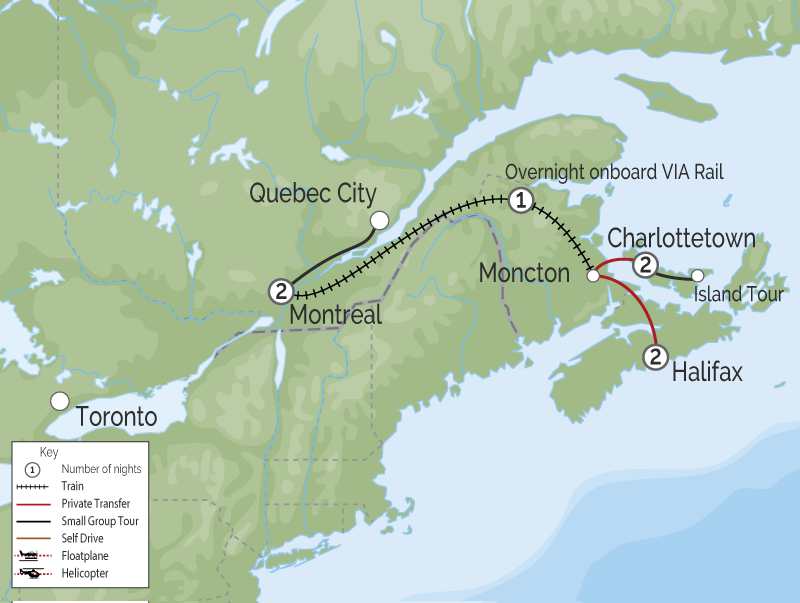 Atlantic Maritimes Explorer by Rail | Halifax to Montreal map