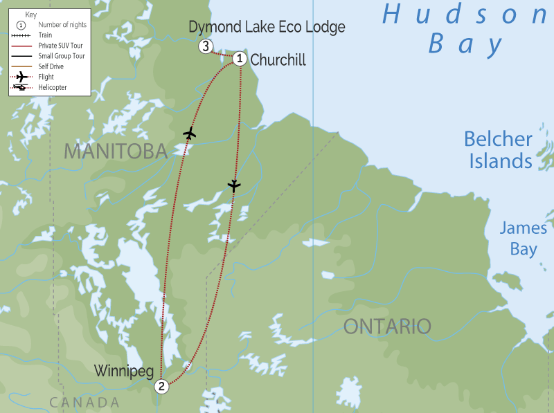 Canada Polar Bear Trip | Great Ice Bear Adventure map