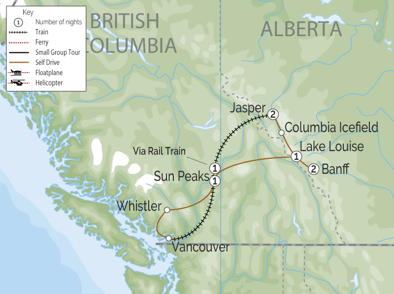 Canadian Rockies Road & Rail Retreat map