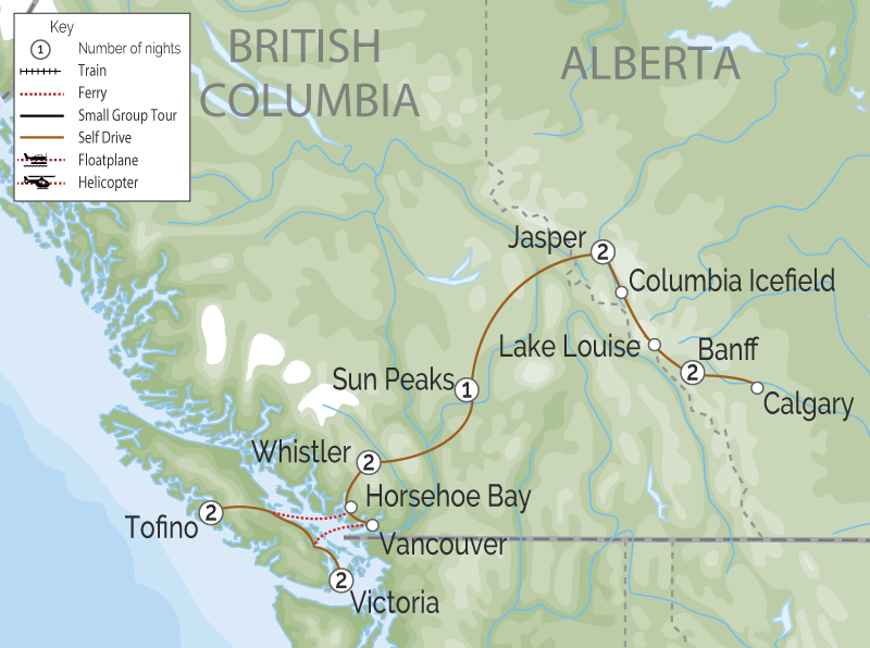 Canadian Rockies & Vancouver Island Road Trip map