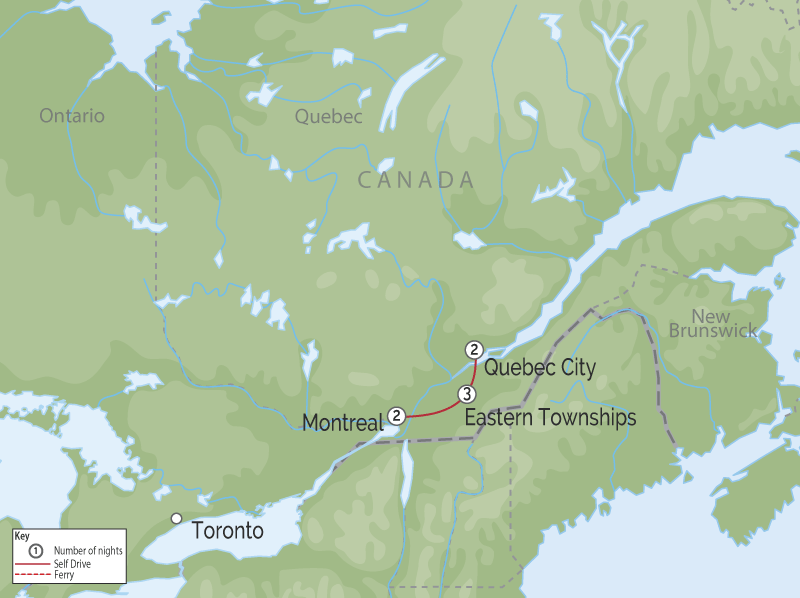 Cities of Quebec and Countryside | Private Touring map
