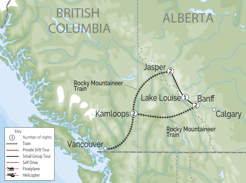 Classic Rocky Mountain Rail Circle Tour | Rocky Mountaineer map