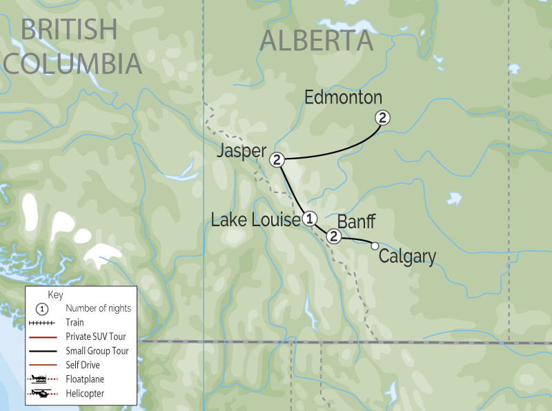 Edmonton to the Rockies map