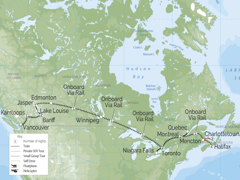 Grand Canadian Train Journey | Halifax to Vancouver map