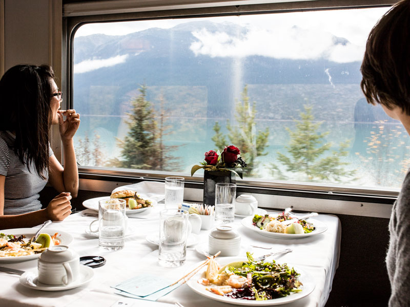 Luxury Snow Train to the Canadian Rockies | VIA Rail Prestige Class Dining Car