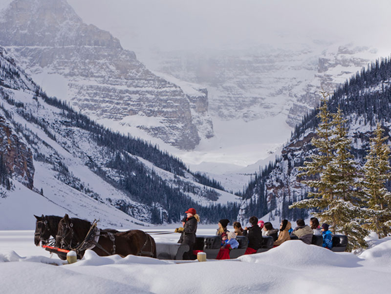 Luxury Snow Train to the Canadian Rockies | Fairmont Chateau Lake Louise Sleigh Ride