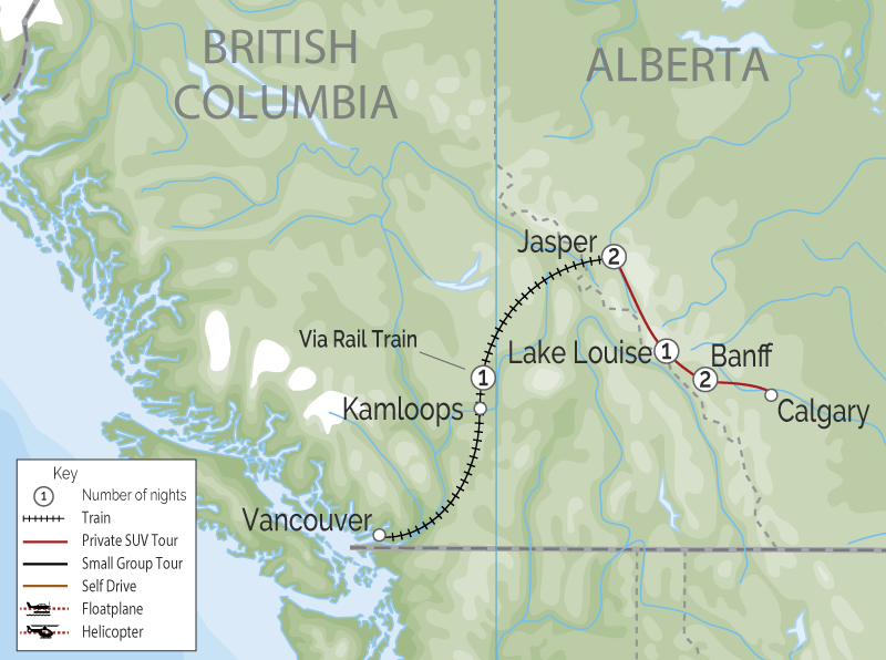 Luxury Winter Snow Train to the Canadian Rockies map