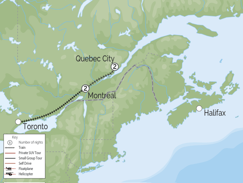 Montreal & Quebec Cities by Train | Splendors of Eastern Canada map