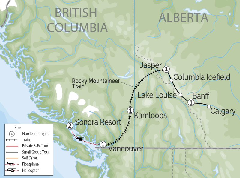 Sonora Resort | Canadian Rockies Train Trip Combo map