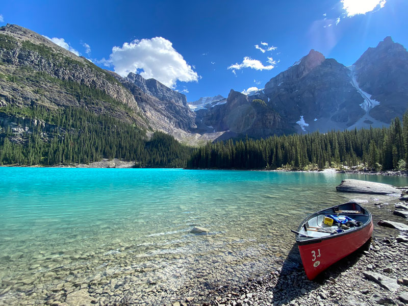Spectacular Lodges of the Canadian Rockies Road Trip | Moraine Lake Canoeing