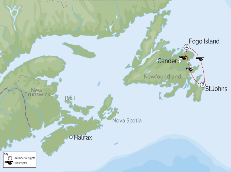 Spirit of Newfoundland & Fogo Island | Private Touring map