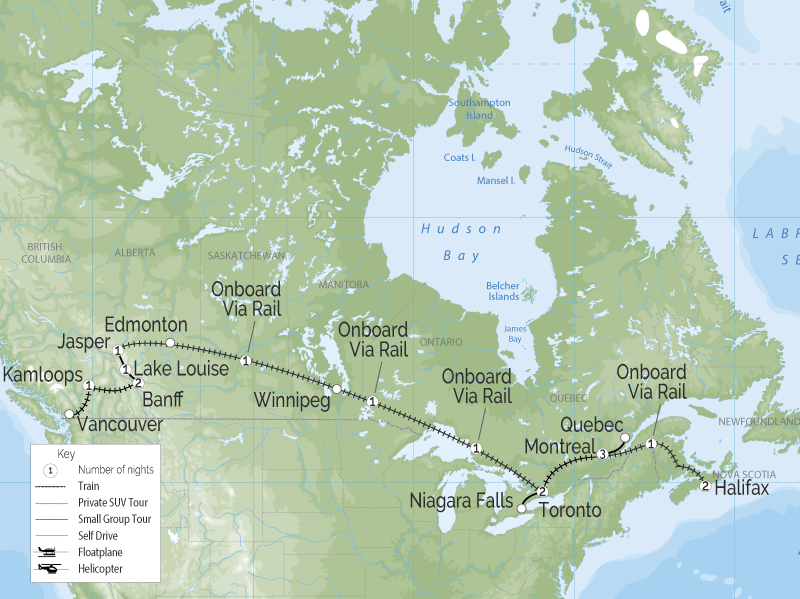 Trans Canada Train Trip Adventure | Vancouver to Halifax map