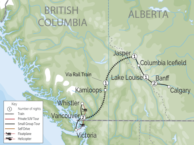 Vancouver & the Canadian Rockies Train Vacation map