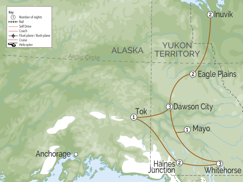 Yukon & the Dempster Highway Road Trip map